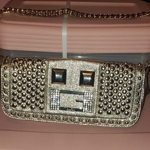 NWT GUESS Gold Bag 100% Authentic!